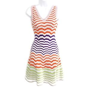 M by Missoni Fitted Fit & Flare Chevron Dress SZ 2